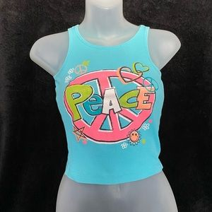 Tops - Y2K Peace Graffiti Ribbed Crop Top Tank